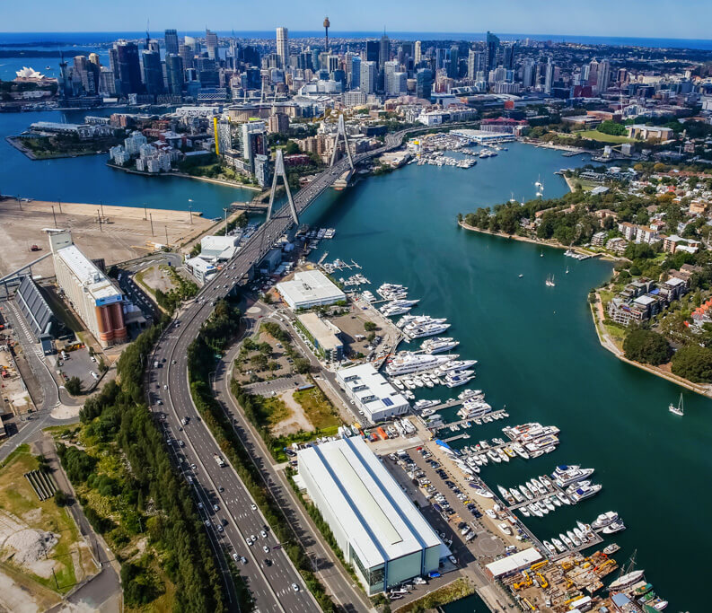 Sydney Boathouse Rozelle Bay Aerial View